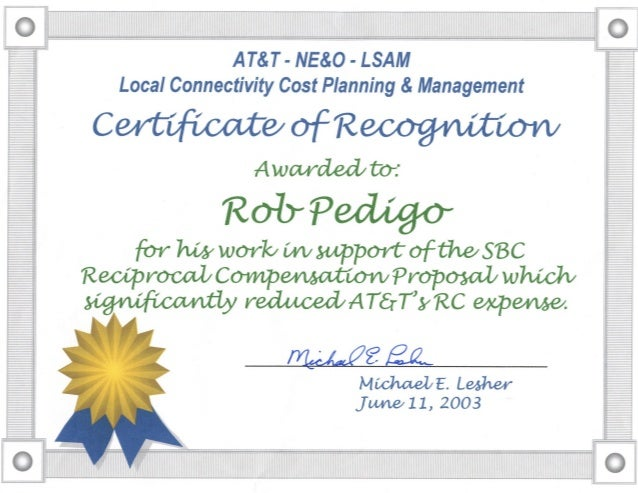 2003 AT&T Certificate of Recognition