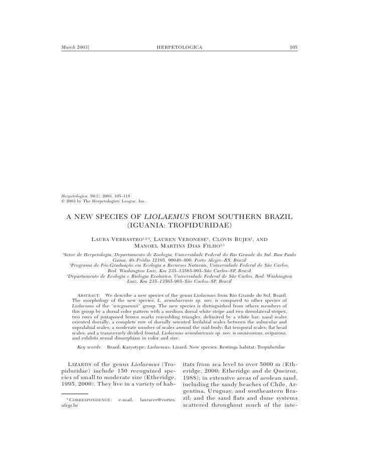 March 2003]                                   HERPETOLOGICA                                                  105     Herpe...