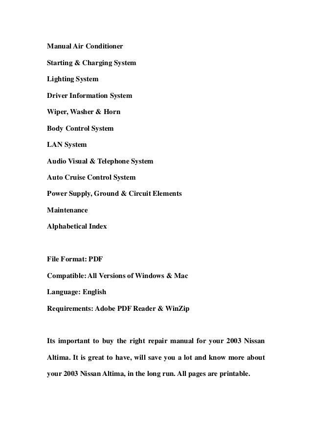 2003 nissan altima service repair workshop manual download rh slideshare net 2012 Nissan Altima Owner's Manual 2001 Nissan Altima Owner's Manual