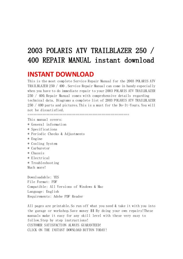 2003 polaris atv trailblazer 250 400 repair manual instant download rh slideshare net 2003 trailblazer owners manual pdf 2003 trailblazer repair manual pdf