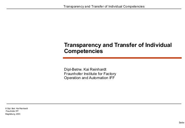 Transparency and Transfer of Individual Competencies  Seite 1  © Dipl. Betr. Kai Reinhardt  Fraunhofer IFF  Magdeburg, 200...