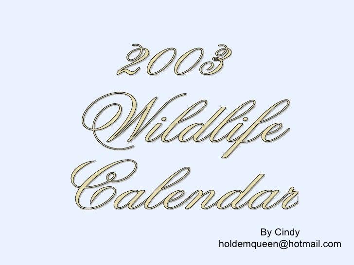 2003 Wildlife Calendar By Cindy [email_address]