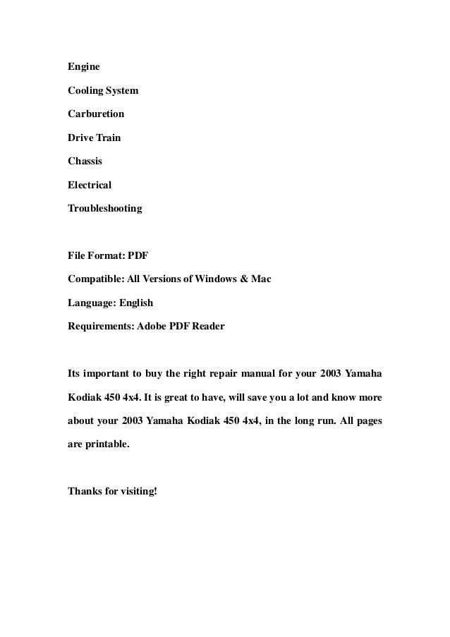 2003 yamaha kodiak 450 4x4 service repair workshop manual. Black Bedroom Furniture Sets. Home Design Ideas