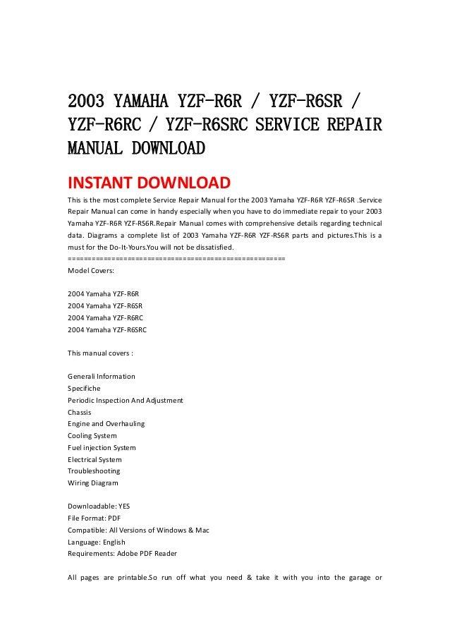 2003 Yamaha Yzf R6 R Yzf R6sr Yzf R6rc Yzf R6src Service Repair Ma