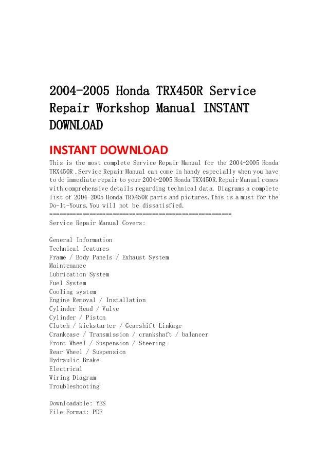 2004 2005 honda trx450 r service repair workshop manual instant download