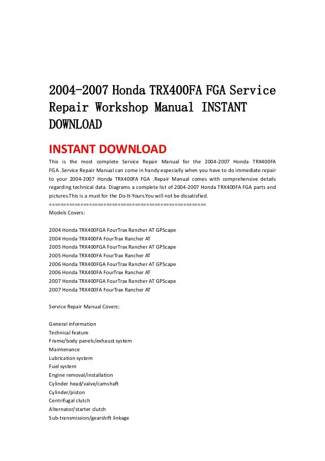 2005 Honda TRX400FA FGA FourTrax Rancher AT with GPScape ATV Owners Manual ...