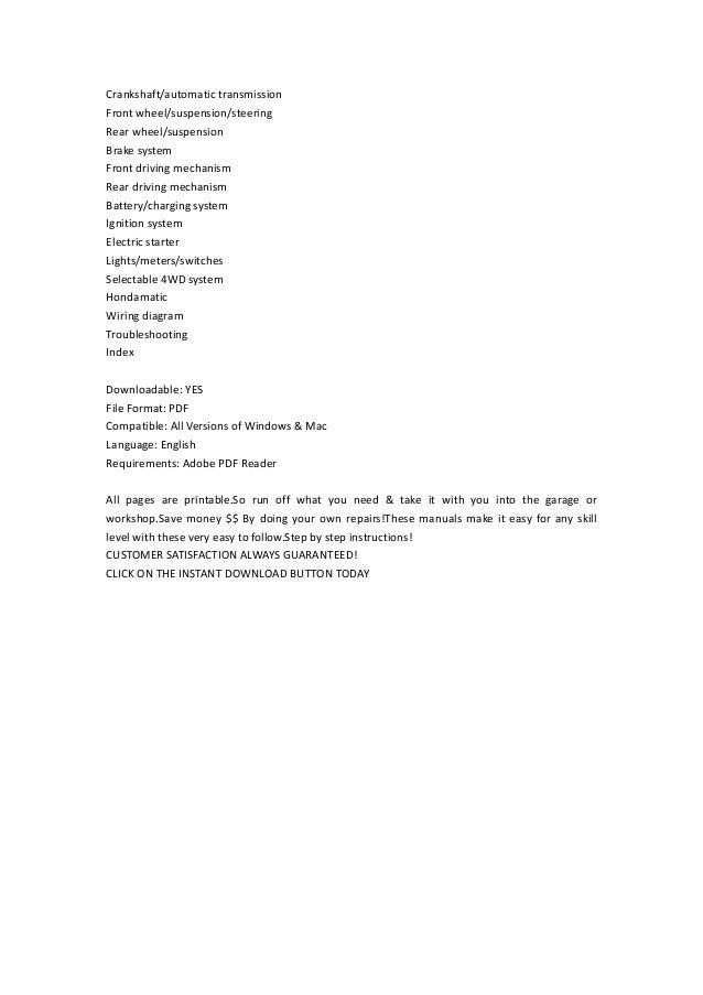 Trx 400 fga service manual honda trx400fa service manual pdf download 7555hondatrx955fgaservicemanual 7556 honda trx 955 9x9 fga no start good why wait if you need now fandeluxe Gallery