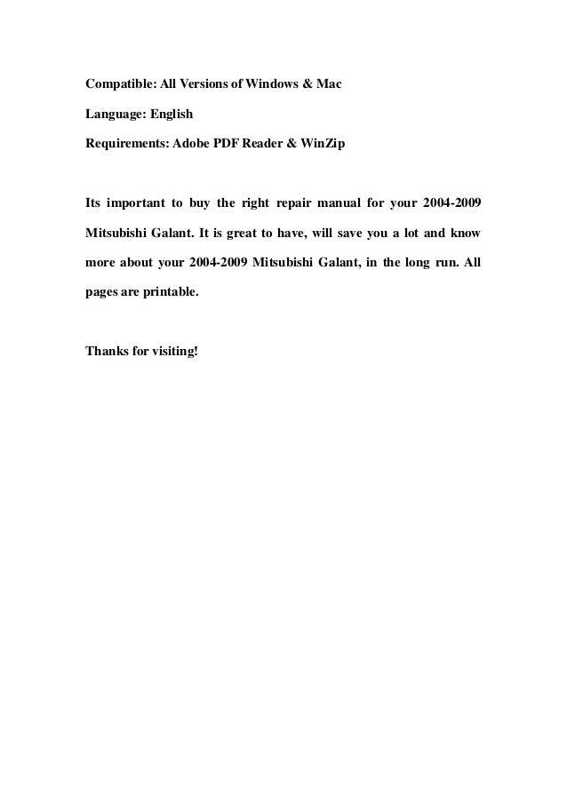 2004 2009 mitsubishi galant service repair workshop manual download rh slideshare net 2016 Mitsubishi Galant 2017 Mitsubishi Galant