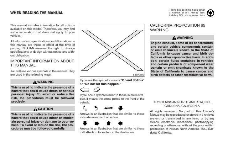 2004 ALTIMA OWNER'S MANUAL Slide 3