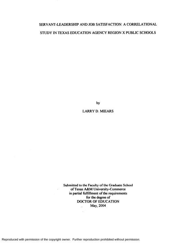 Servant leadership thesis
