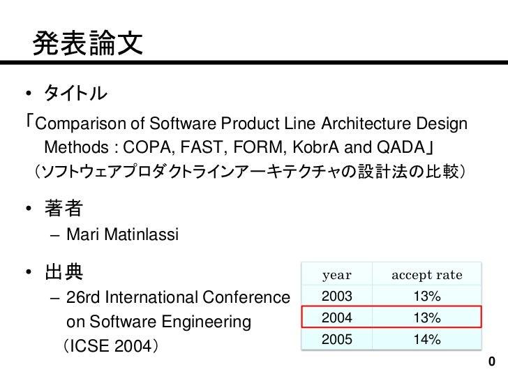 発表論文• タイトル「Comparison of Software Product Line Architecture Design  Methods : COPA, FAST, FORM, KobrA and QADA」(ソフトウェアプロダク...