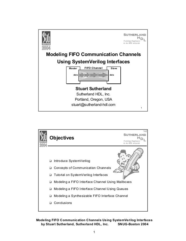 Modeling FIFO Communication Channels Using SystemVerilog Interfaces Master  FIFO Channel  data  Slave data  Stuart Sutherl...