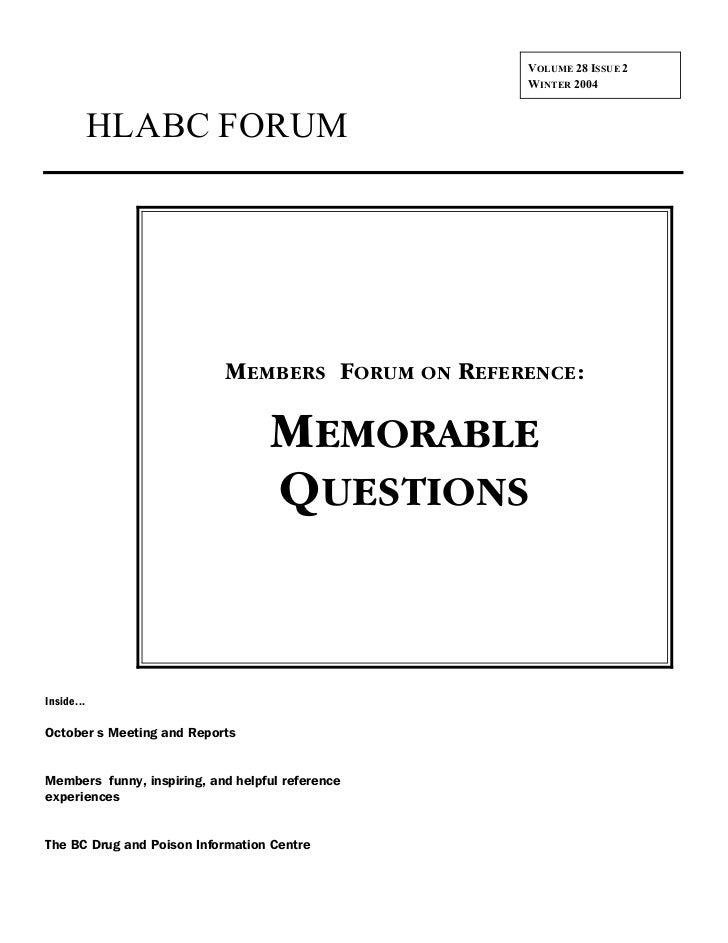 VOLUME 28 ISSUE 2                                                   WINTER 2004            HLABC FORUM                    ...