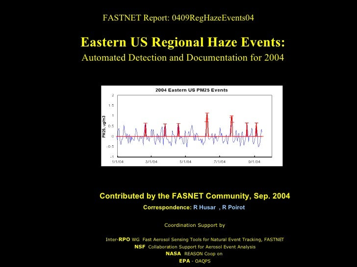 FASTNET Report: 0409RegHazeEvents04 Eastern US Regional Haze Events: Automated Detection and Documentation for 2004 Contri...