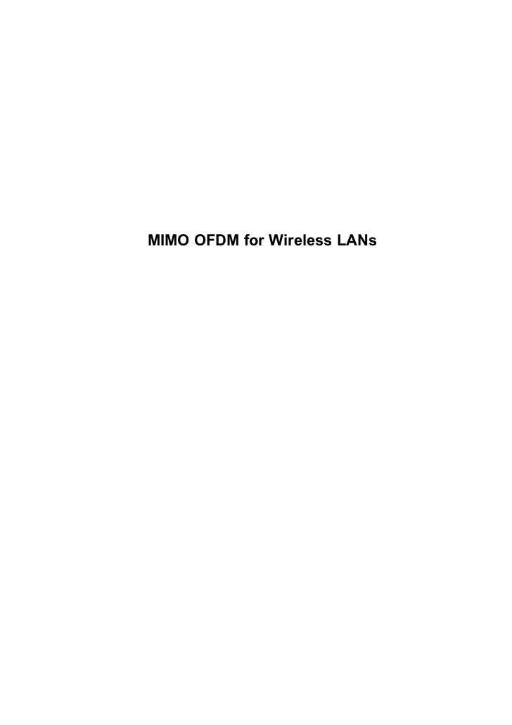 MIMO OFDM for Wireless LANs
