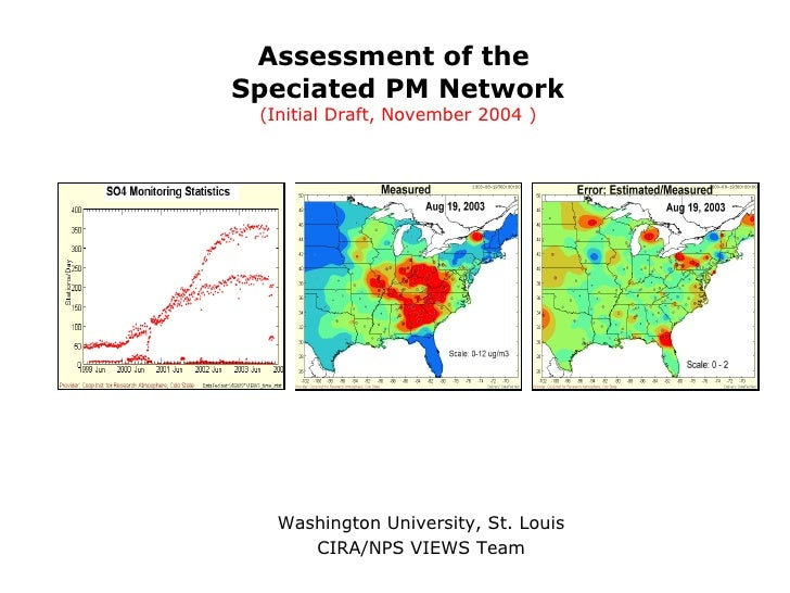 Assessment of the  Speciated PM Network (Initial Draft, November 2004 ) Washington University, St. Louis CIRA/NPS VIEWS Team