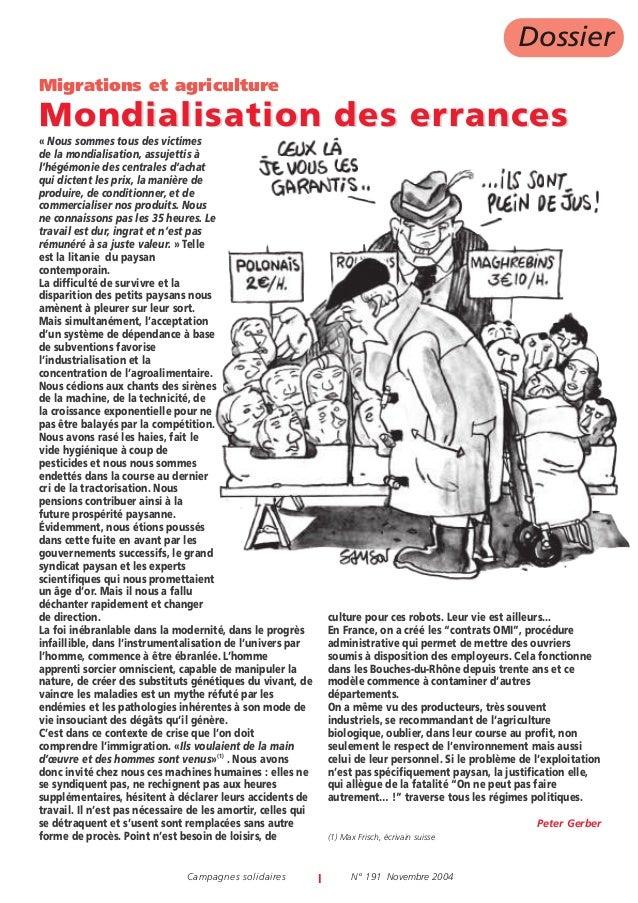 Dossier Migrations et agriculture  Mondialisation des errances « Nous sommes tous des victimes de la mondialisation, assuj...