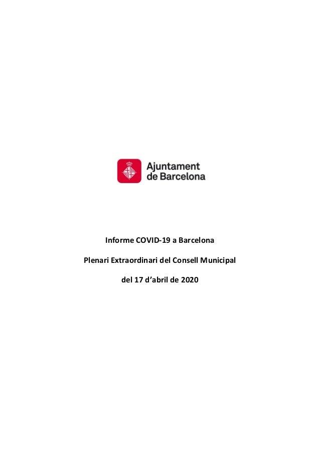Informe COVID-19 a Barcelona Plenari Extraordinari del Consell Municipal del 17 d'abril de 2020