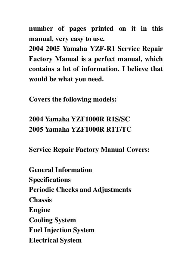 2004 2005 yamaha yzf r1 service repair factory manual instant download rh slideshare net Yamaha R1 Motorcycles 2005 yamaha r1 owner's manual