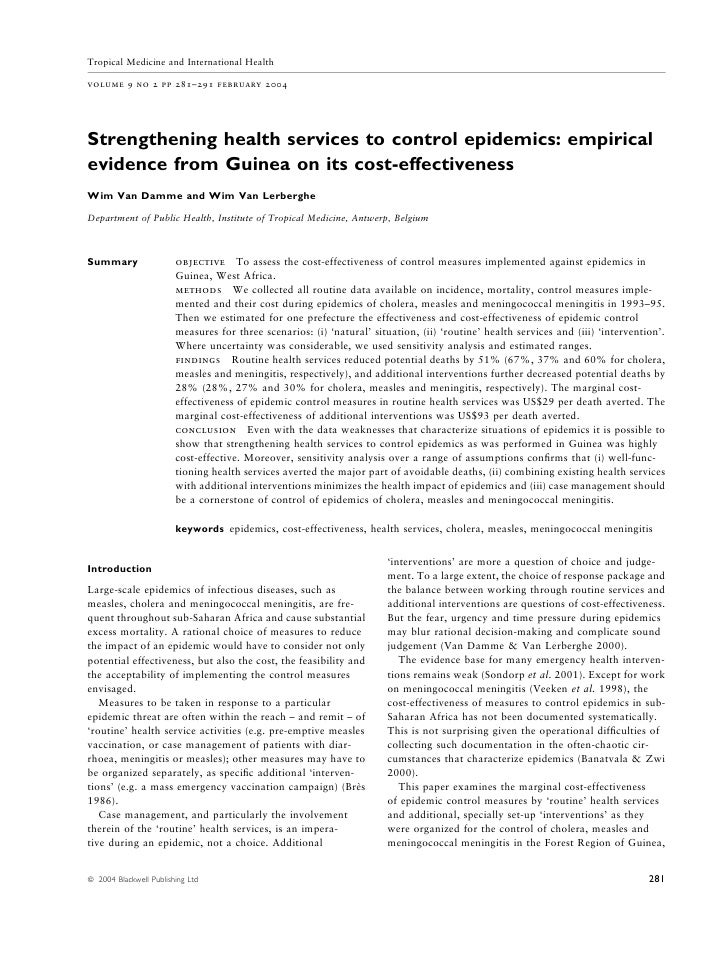 Tropical Medicine and International Health  volume 9 no 2 pp 281–291 february 2004     Strengthening health services to co...