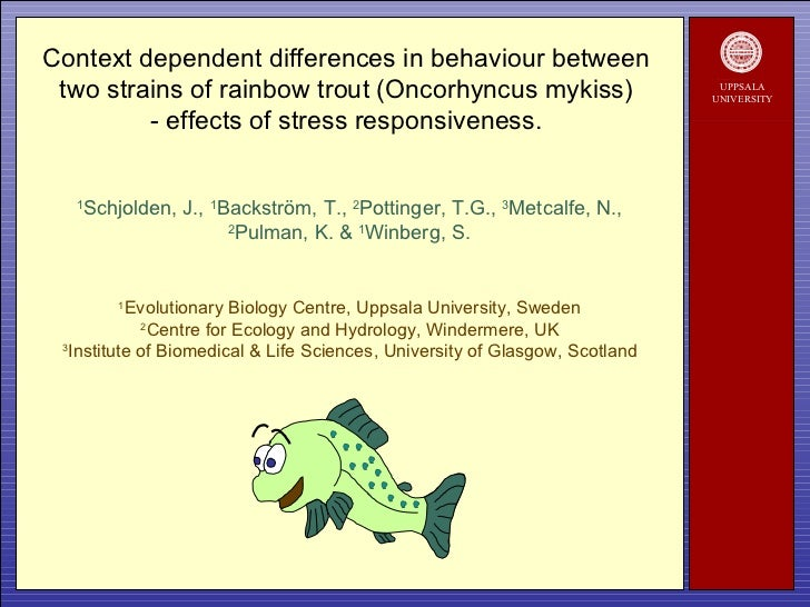 UPPSALA UNIVERSITY Context dependent differences in behaviour between  two strains of rainbow trout (Oncorhyncus mykiss)  ...