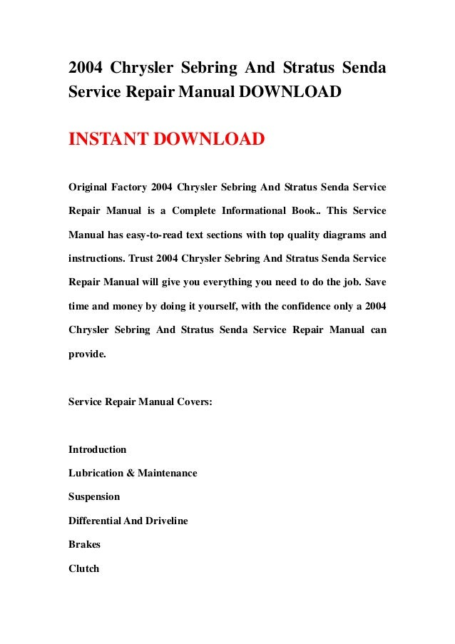 2004 chrysler sebring and stratus senda service repair manual rh slideshare net 2001 chrysler sebring repair manual online 2000 chrysler sebring repair manual free pdf