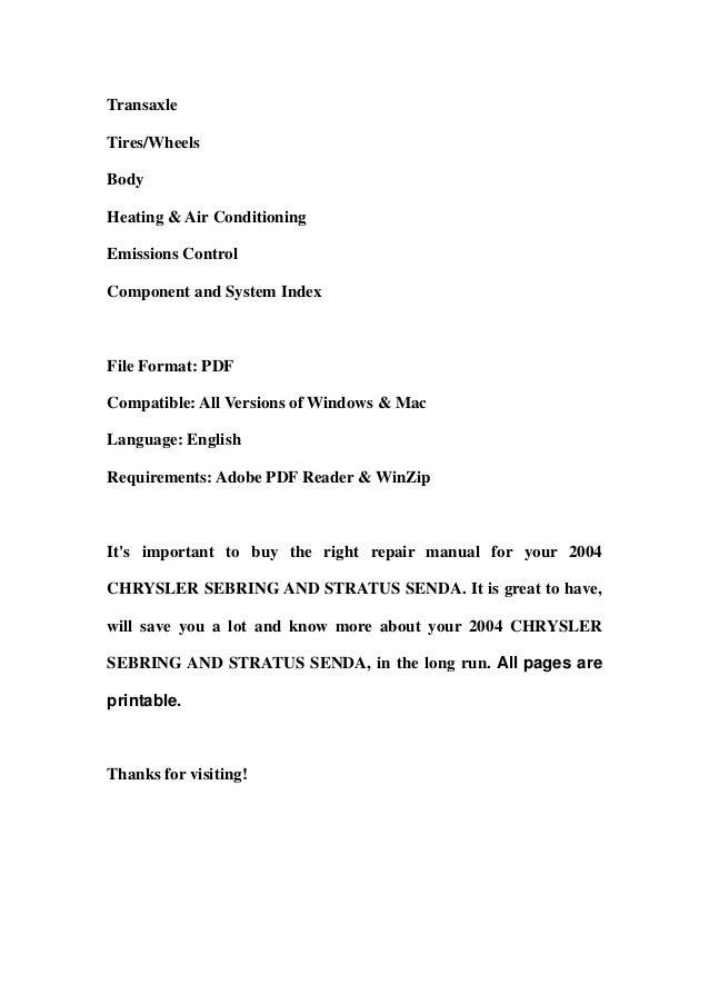 2004 chrysler sebring and stratus senda service repair manual download rh slideshare net 1999 Sebring 2007 Sebring