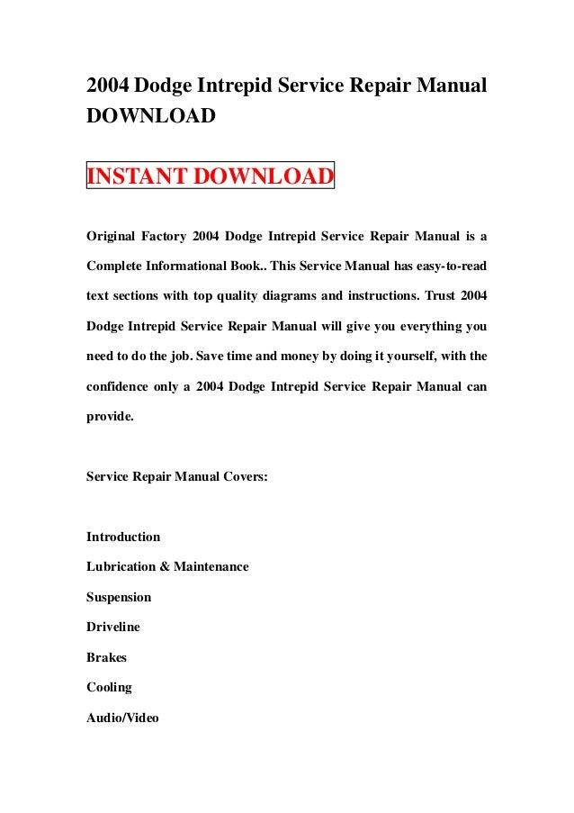 2004 dodge intrepid service repair manual download rh slideshare net 1999 Dodge Intrepid 2000 dodge intrepid repair manual download