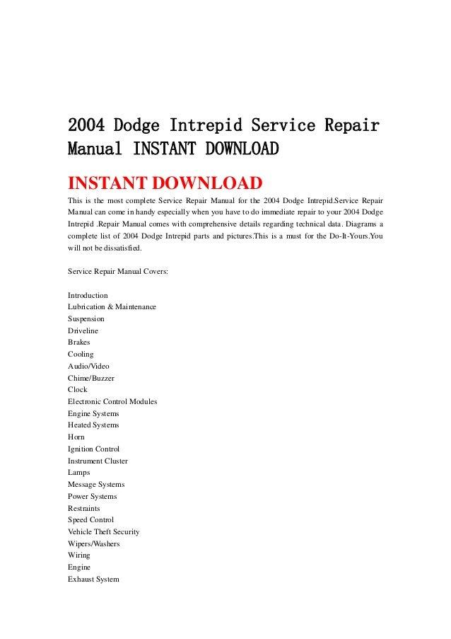 wiring diagram for 2004 dodge intrepid 2004 dodge intrepid service repair manual instant download  2004 dodge intrepid service repair