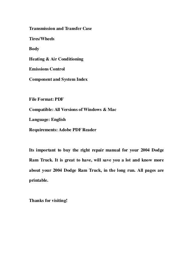2004 dodge ram truck service repair workshop manual download rh slideshare net 2004 dodge ram 3500 diesel repair manual 2004 dodge ram 1500 repair manual