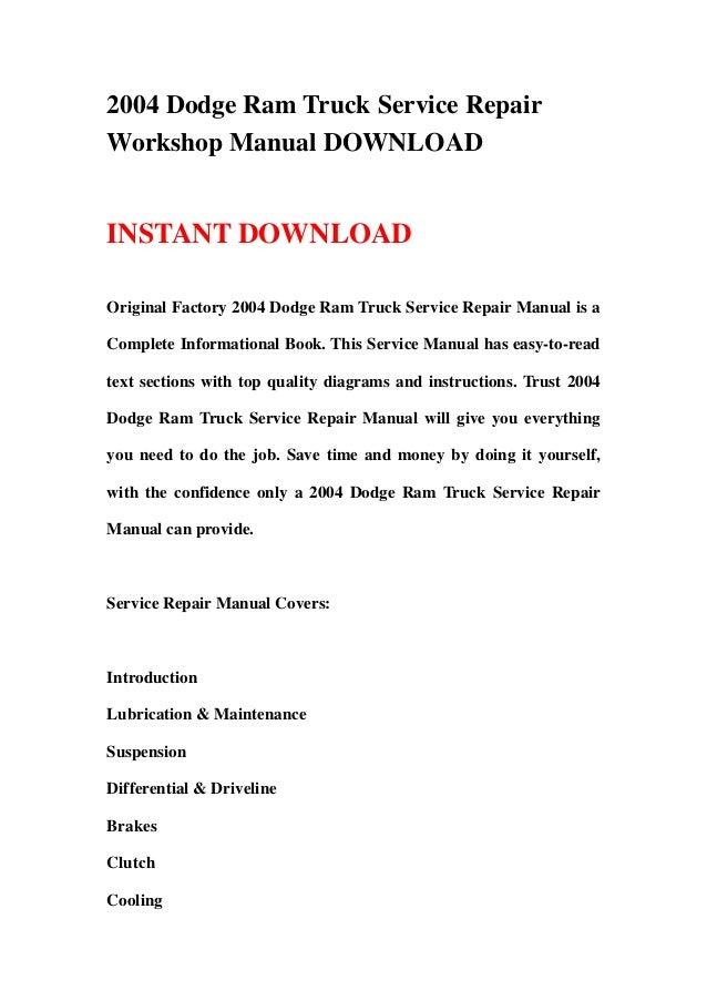 2004 dodge ram truck service repair workshop manual download rh slideshare net 2004 dodge ram maintenance manual 2004 dodge ram manual