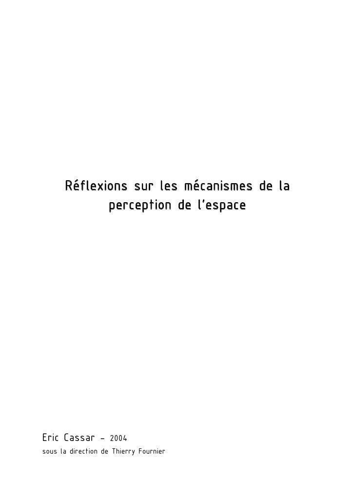 Réflexions sur les mécanismes de la             perception de l'espaceEric Cassar - 2004sous la direction de Thierry Fourn...