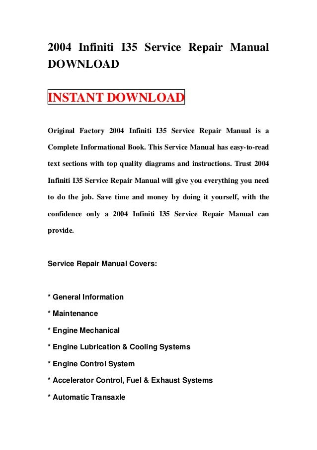 2004 infiniti i35 service repair manual download rh slideshare net 2006 Infiniti F45 Manual infiniti owners manual g35