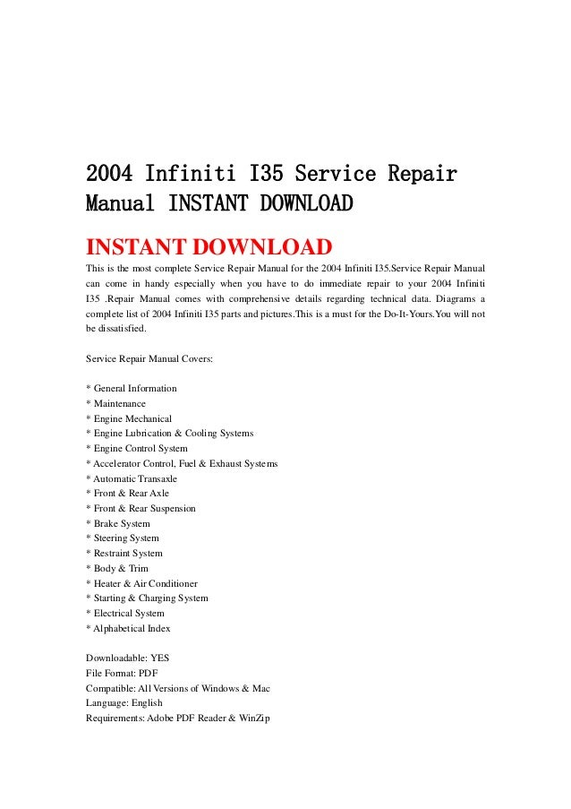 2004 infiniti i35 service repair manual instant download rh slideshare net 2002 infiniti i35 service manual pdf infiniti i30 service manual pdf