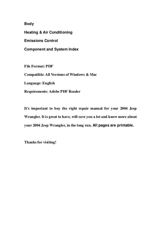 jeep wrangler repair manual pdf