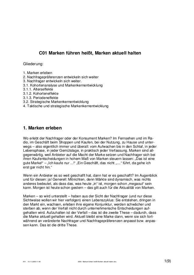 KH 19.11.2009 11:48 2004 Marken führen heißt Marken aktuell halten.doc 1(9) C01 Marken führen heißt, Marken aktuell halten...