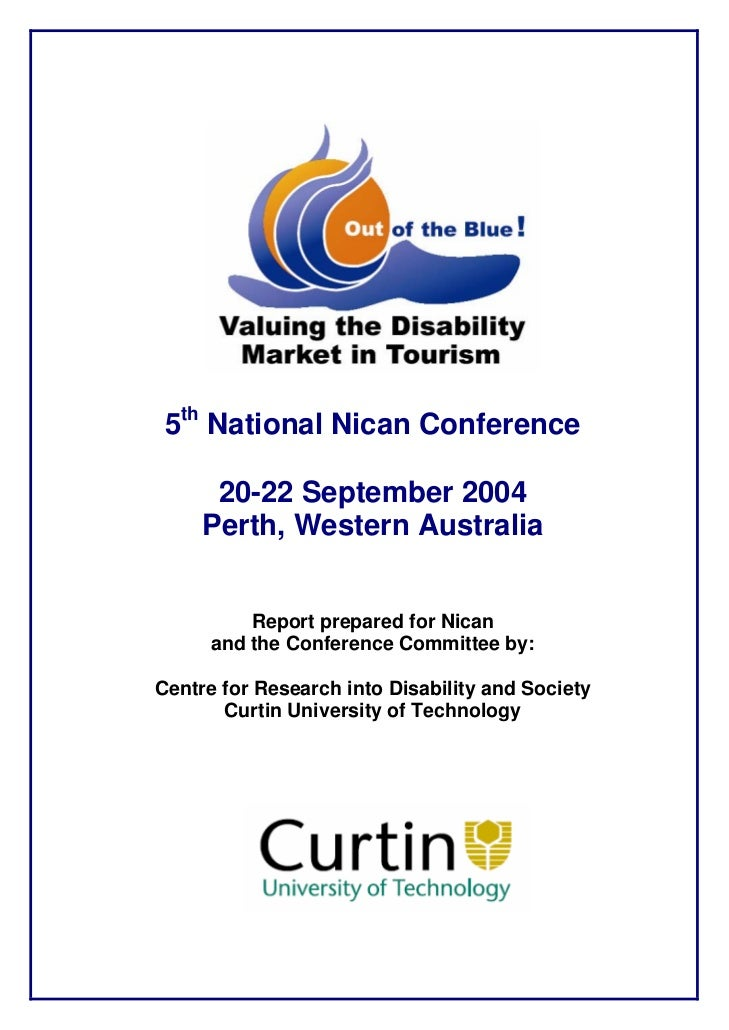 5th National Nican Conference        20-22 September 2004      Perth, Western Australia             Report prepared for Ni...