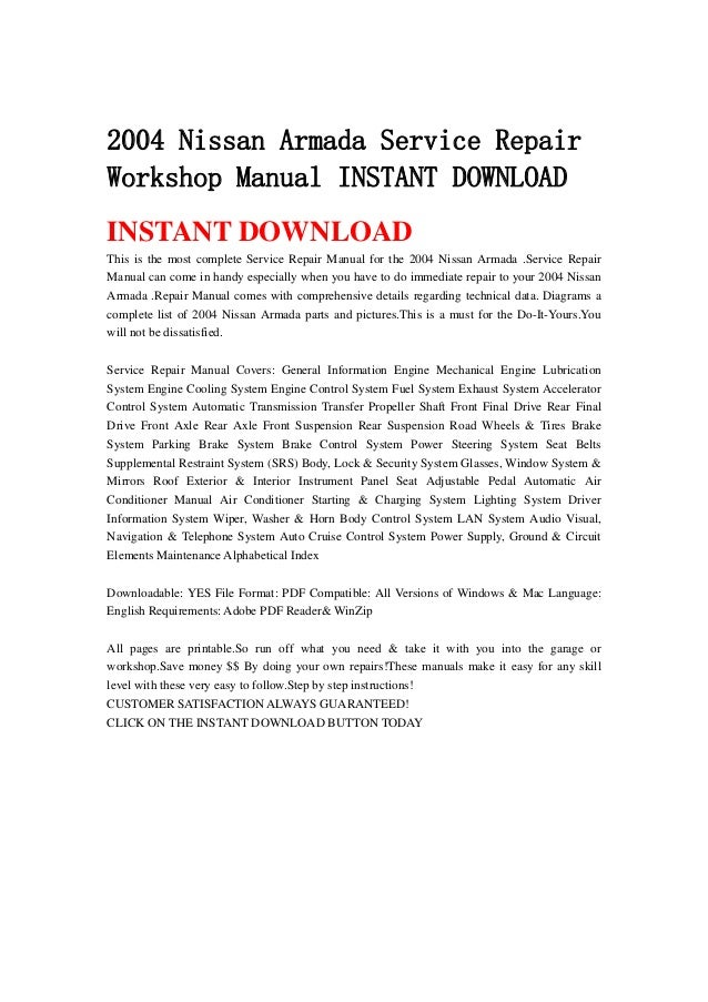 2004 nissan armada service repair workshop manual instant download rh slideshare net 2004 nissan pathfinder repair manual pdf 2004 nissan titan repair manual pdf