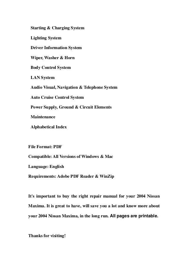 2004 nissan maxima service repair workshop manual download rh slideshare net 2004 nissan maxima owners manual pdf 2004 nissan maxima repair manual download