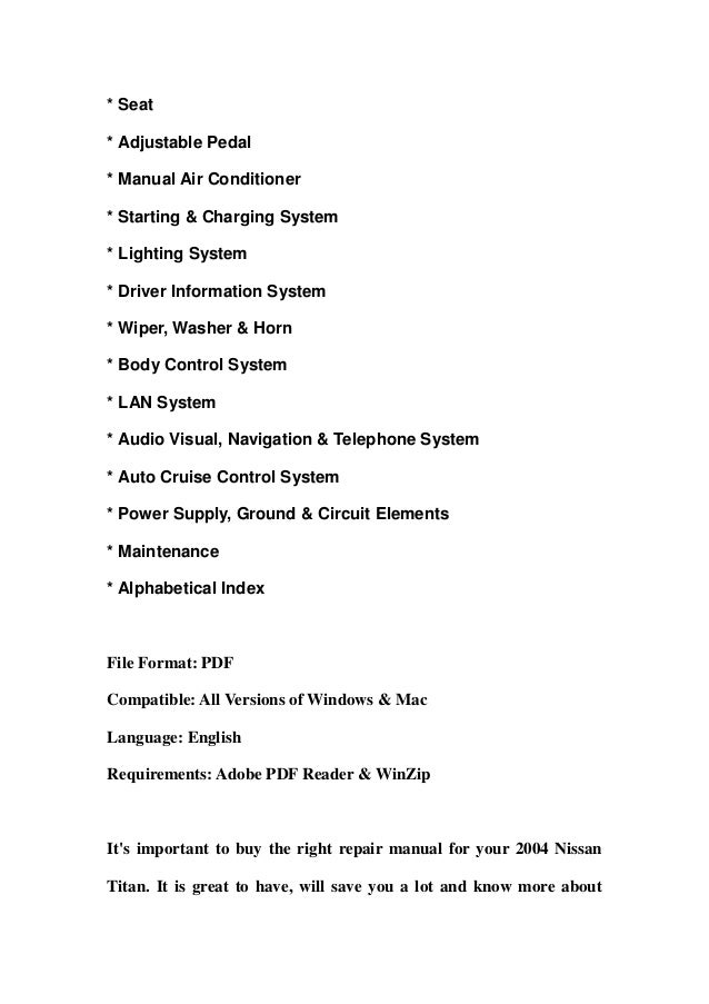 2004 nissan titan service repair manual download rh slideshare net 2004 nissan titan owner's manual 2004 nissan armada repair manual pdf