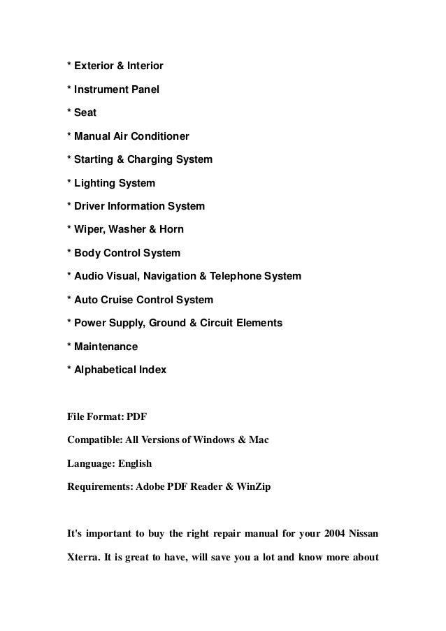 2004 nissan xterra service repair manual download rh slideshare net 2004 nissan xterra owners manual free 2004 Nissan Xterra Oil Light