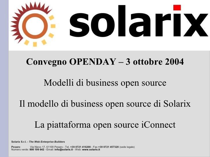 Convegno OPENDAY – 3 ottobre 2004                            Modelli di business open source        Il modello di business...