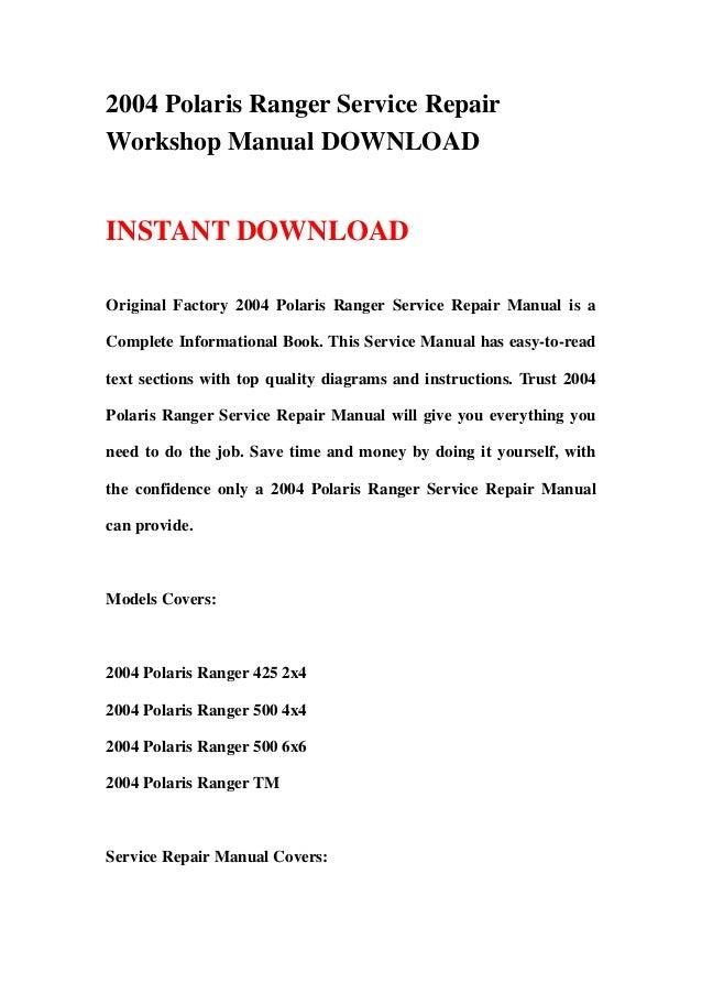 2004 Polaris Ranger Service Repair Workshop Manual Download