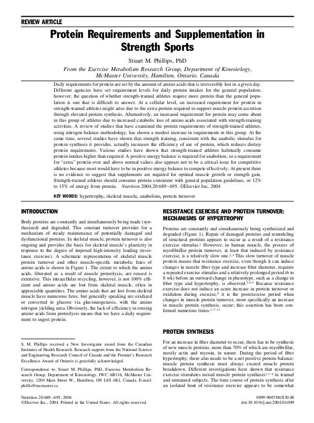 REVIEW ARTICLE Protein Requirements and Supplementation in Strength Sports Stuart M. Phillips, PhD From the Exercise Metab...