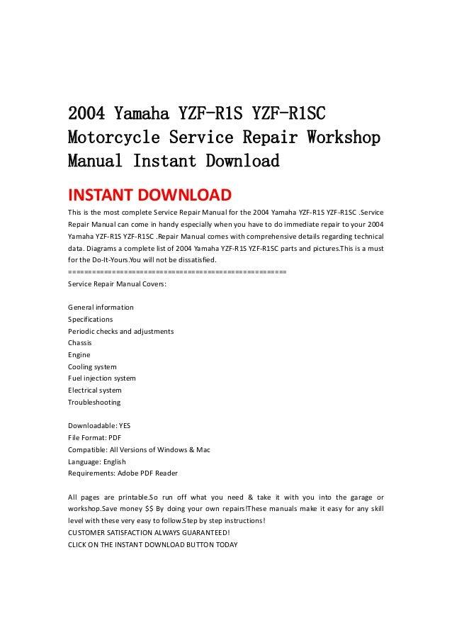 2004 Yamaha Yzf R1 S Yzf