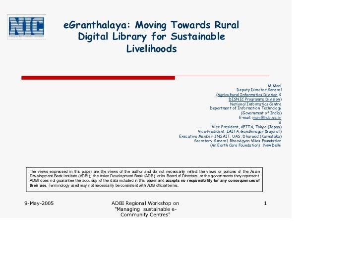 eGranthalaya: Moving Towards Rural                      Digital Library for Sustainable                                 Li...