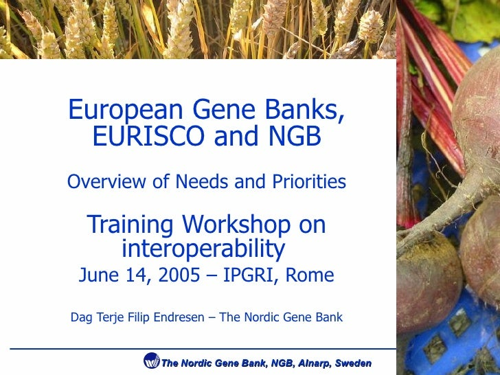 European Gene Banks, EURISCO and NGB Overview of Needs and Priorities Training Workshop on interoperability   June 14, 200...
