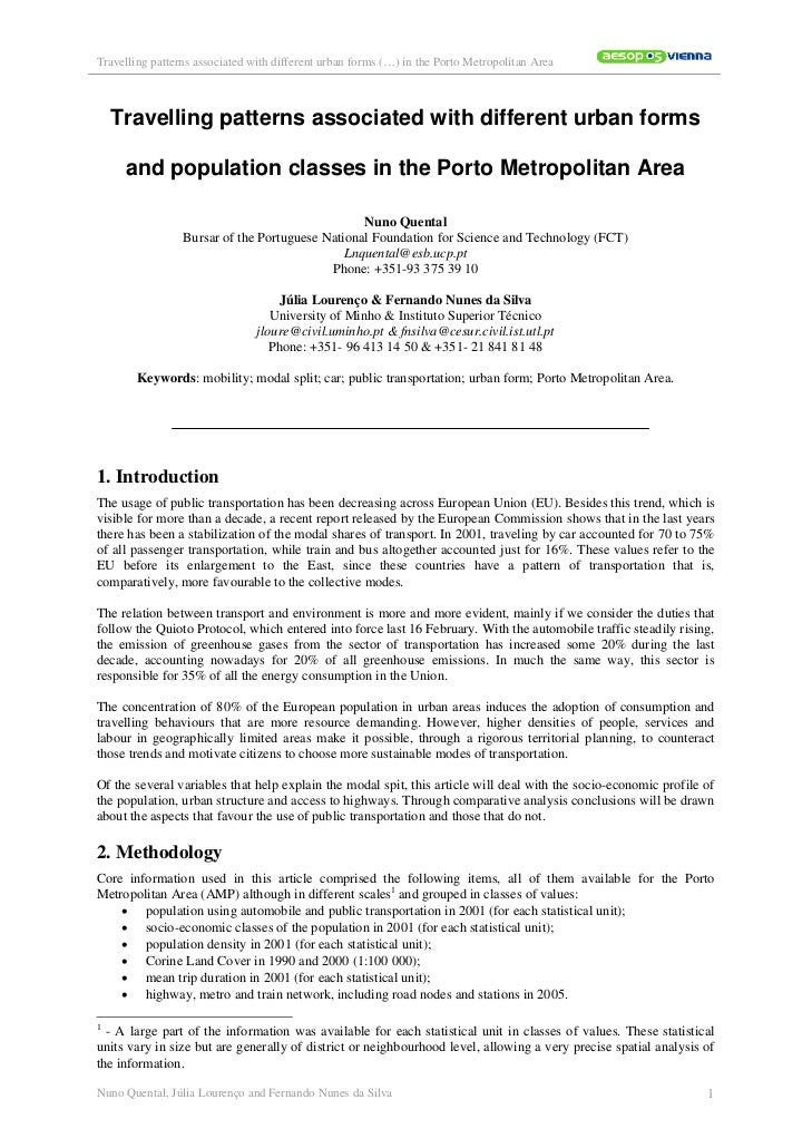 Travelling patterns associated with different urban forms (…) in the Porto Metropolitan Area    Travelling patterns associ...