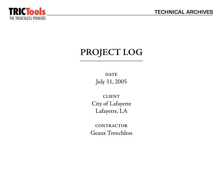 TRICTools                                       TECHNICAL ARCHIVES THE TRENCHLESS PIONEERS                       ™        ...