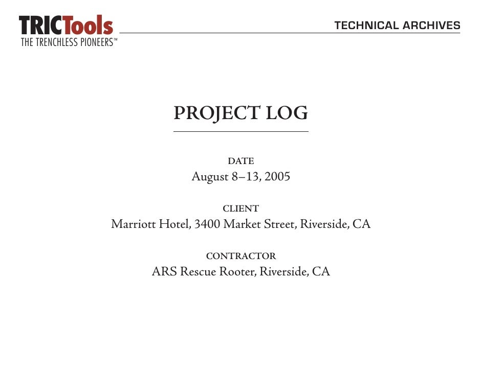TECHNICAL ARCHIVES                PROJECT LOG                        DATE                August 8–13, 2005                ...
